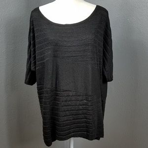 WHBM XL Shirt Top Black Sparkle Holiday SS